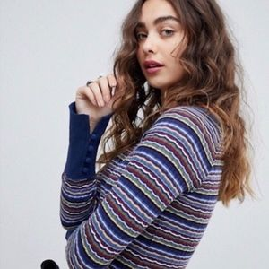 free people Donna tee long sleeve striped navy s